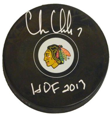 Chris Chelios Signed Blackhawks Logo Hockey Puck w/HOF 2013