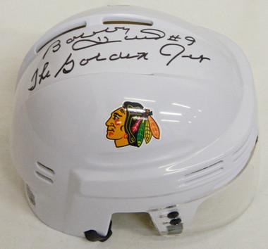Bobby Hull Signed Blackhawks White Hockey Mini Helmet w/The Golden Jet
