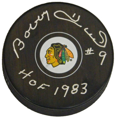 Bobby Hull Signed Chicago Blackhawks Logo Hockey Puck w/HOF 1983