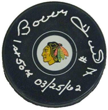 Bobby Hull Signed Chicago Blackhawks Logo Hockey Puck w/1st 50th 03-25-62