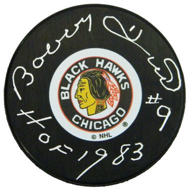 Bobby Hull Signed Chicago Blackhawks Original Six Logo Hockey Puck w/HOF 1983