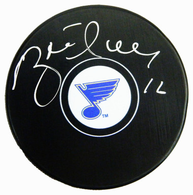 Brett Hull Signed St Louis Blues Logo Hockey Puck