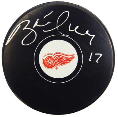 Brett Hull Signed Detroit Red Wings Logo Hockey Puck
