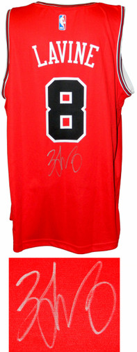 Zach LaVine Signed Chicago Bulls Red Fanatics Replica Basketball Jersey