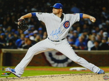 Jon Lester Signed Chicago Cubs 2016 World Series Action 16x20 Photo
