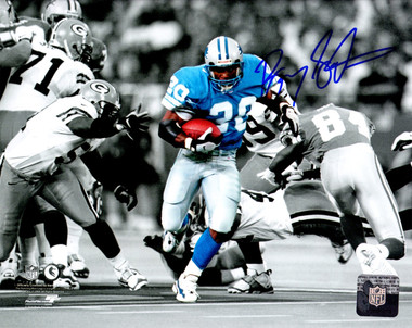 Barry Sanders Signed Detroit Lions Action vs Packers Spotlight 8x10 Photo