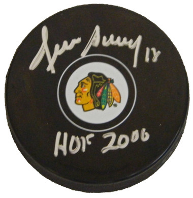 Denis Savard Signed Chicago Blackhawks Logo Hockey Puck w/HOF 2000