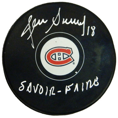 Denis Savard Signed Montreal Canadiens Logo Hockey Puck w/Savoir Faire