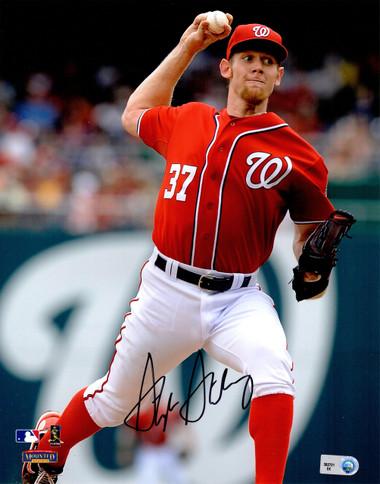 Stephen Strasburg Signed Washington Nationals Pitching Action 8x10 Photo