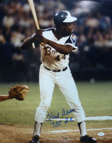 "Hank Aaron autographed Atlanta Braves 16x20 photo w ""755 HR"" inscription"