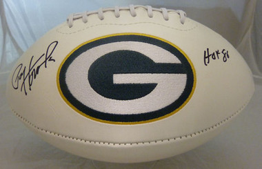 Paul Hornung Autographed Green Bay Packers white logo football w HOF 86 Inscription