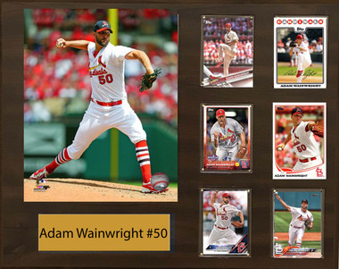 Adam Wainwright, St. Louis Cardinals, 16x20 Plaque - 8x10 Action photo and 6 baseball cards