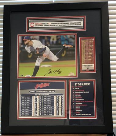 Corey Kluber autographed Cleveland Indians AL Record Winning Streak Framed Piece