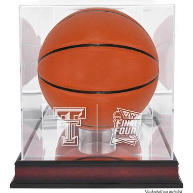 Texas Tech Red Raiders Logo Mahogany Base Basketball Display Case