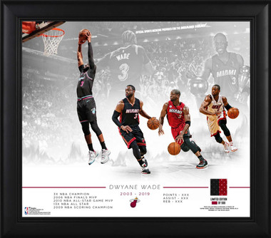 Dwyane Wade, Miami Heat, Commemorative Retirement Photo Collage (15x17) with a piece of Game Used Jersey