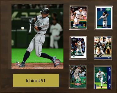 Ichiro Suzuki, Seattle Mariners, 16x20 Plaque - 8x10 Action photo and 6 baseball cards