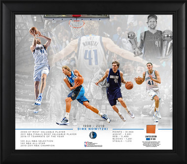 Dirk Nowitzki 15x17 Framed Photo Collage with piece of game-used ball