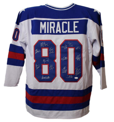 """1980 """"Miracle on Ice"""" USA Hockey Jersey Autographed by 15 Members (JSA COA)"""