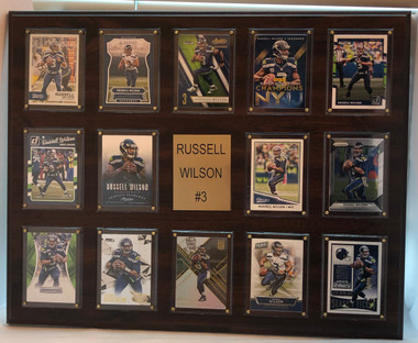 Russell Wilson, Seattle Seahawks, 16x20 Plaque - with 14 football cards