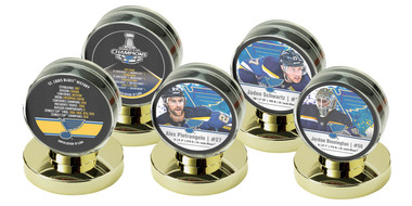 St. Louis Blues Stanley Cup Champions Five Puck Set With Display Cases
