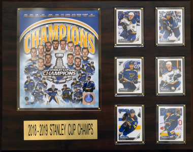 St. Louis Blues 201 Stanley Cup Champions, 16x20 Plaque - 8x10 team photo and 6 hockey cards