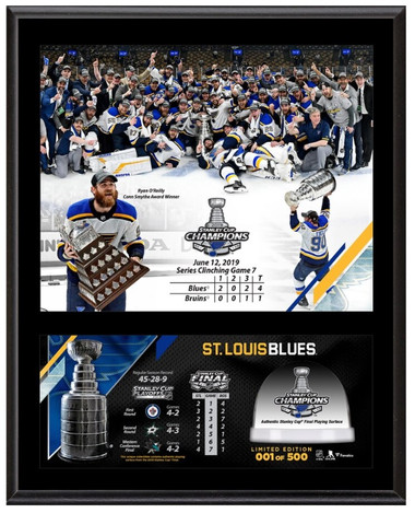"St. Louis Blues 12"" x 15"" 2019 Stanley Cup Champions Sublimated Plaque  with ""game used ice"""