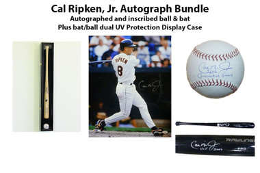 "Cal Ripken Autograph Bundle -Baseball w/""2632 Consecutive Games"" and Rawlings Bat w/""HOF"" plus display case"
