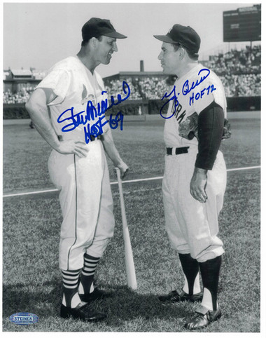Yogi Berra and Stan Musial Autographed 8x10 B&W Photo taken at Sportsman's Park