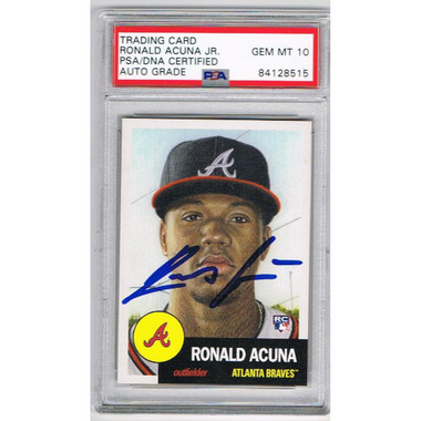 Ronald Acuna Jr Atlanta Braves Autographed 2018 Topps Baseball Card Coa