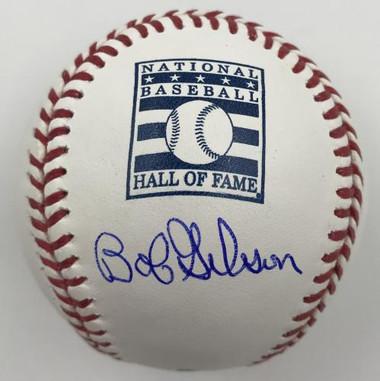 Bob Gibson Autographed Hall of Fame Logo Baseball
