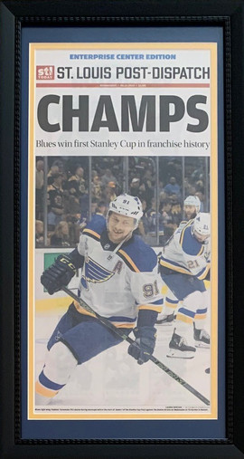 St. Louis Post Dispatch - St. Louis Blues Stanley Cup Champions Framed and Matted Front Page