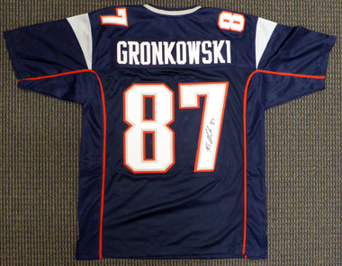 online store 587ac 3f1c4 Rob Gronkowski Autographed New England Patriots Blue Custom Jersey Beckett  BAS