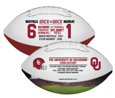 Kyler Murray and Baker Mayfield Oklahoma Sooners Back-to-Back Heisman Winners and #1 NFL Draft Pick Football