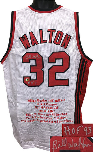 """Bill Walton Portland Trailblazers Autographed White Throwback Custom Stitched  Jersey inscribed """"HOF 93"""" w/ Embroidered Stats XL"""