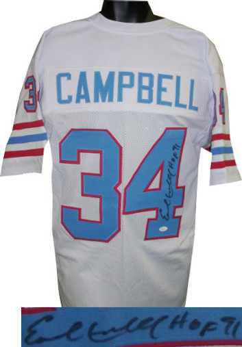 Earl Campbell Autographed Jersey - Houston Oilers White Throwback Custom Stitched Pro Style Football HOF 91 XL (black sig) - JSA Hologram
