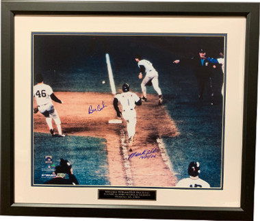Bill Buckner Boston Red Sox & Mookie Wilson New York Mets dual signed 86 World Series 16x20 Photo Custom Framing 10-25-86 imperfect - MLB Holo