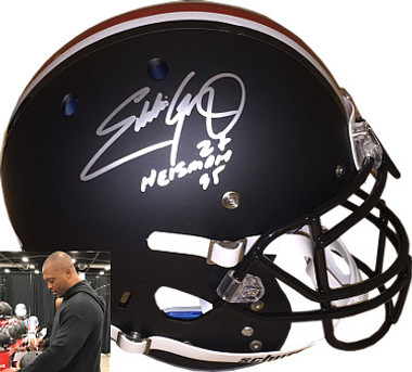 "Eddie George signed Ohio State Buckeyes Schutt Black Matte Full Size Authentic Helmet ""Heisman 95"" #27 - JSA Hologram"