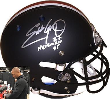 "Eddie George signed Ohio State Buckeyes Schutt Black Matte Full Size Authentic Helmet ""Heisman 95"" #27 - JSA Hologram"