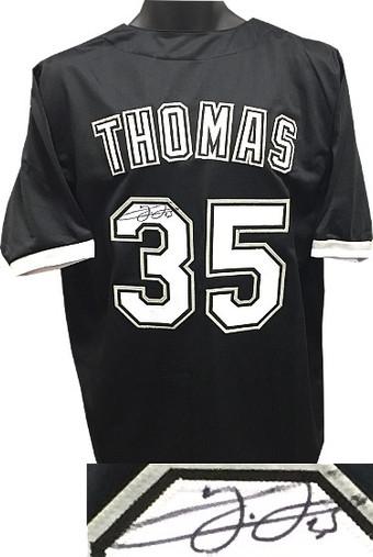Frank Thomas Chicago White Sox signed Black Custom Stitched Baseball XL Jersey #35 - JSA Hologram