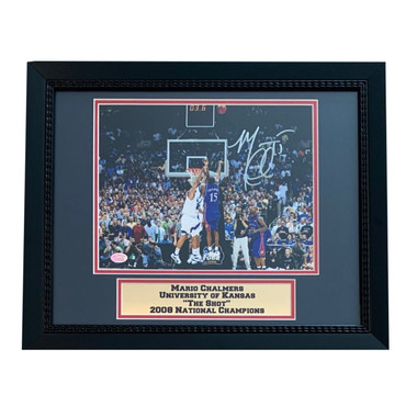 "Mario Chalmers Autographed Framed 8x10 Photo - Kansas Jayhawks ""THE SHOT"""