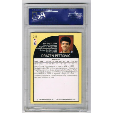 Drazen Petrovic Autographed Rookie Card - Portland Trail Blazers Signed 1990 Hoops NBA Basketball Rookie Card PSA DNA COA