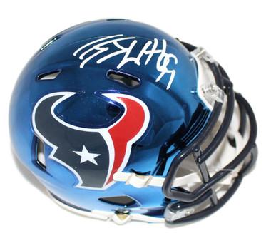 JJ Watt Autographed Mini Helmet - Houston Texans Chrome Riddell JSA