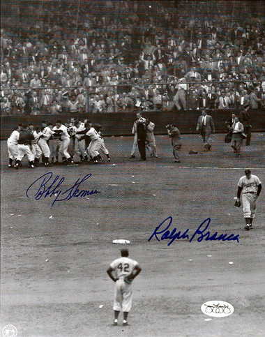 Bobby Thomson & Ralph Branca Autographed 8x10 Photo - New York Giants and Brooklyn Dodgers JSA Stamp of Approval