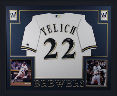 Christian Yelich Autographed Framed Jersey - Milwaukee Brewers PSA DNA COA