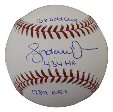 Andruw jones Autographed Baseball - Atlanta Braves OML 3 Insc JSA