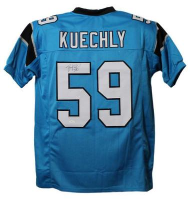 Luke Kuechly Autographed Jersey - Carolina Panthers Size XL Blue JSA