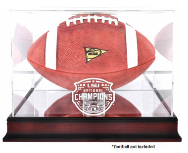 LSU National Champions Logo Mahogany Football Display Case