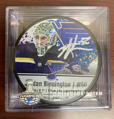 Jordan Binnington Autographed Photo Puck - with display case and COA
