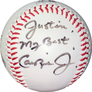 Cal Ripken Jr signed Fotoball Baseball - Baltimore Orioles  w/ Justin My Best inscription- JSA Hologram #HH18152