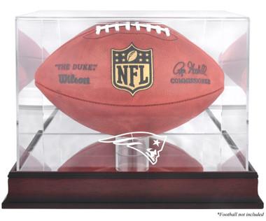 New England Patriots Logo Mahogany Display Case - UPS